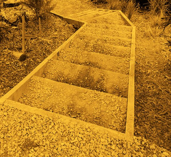 Park Bench, Pathway and Steps Installation